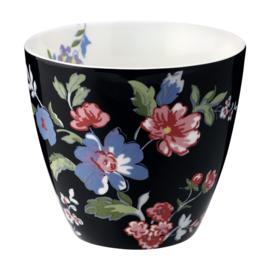 GreenGate Stoneware Latte Cup Isobel Black H 9 cm