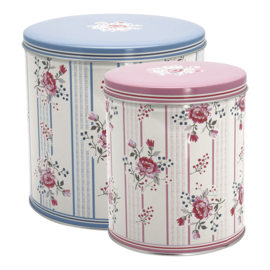 GreenGate Round Box Fiona Pale Blue Set Of 2 Pieces
