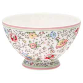 GreenGate Stoneware French Bowl Medium Vivianne White D 10 cm