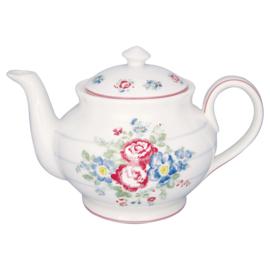 GreenGate Stoneware Teapot Round Henrietta White
