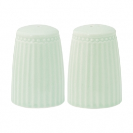 GreenGate Stoneware Salt And Pepper Set Alice Pale Green H 5,5 cm
