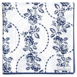GreenGate Paper Napkin Fleur Blue Large 20 Pieces 33 x 33 cm