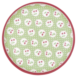 GreenGate Bamboo Plate Cherry Berry Pale Green D 20 cm
