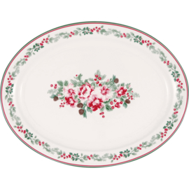 GreenGate Stoneware Oval Serving Plate  Charline White