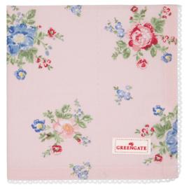 GreenGate Cotton Napkin With Lace Roberta Pale Pink 40 x 40 cm