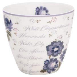 GreenGate Stoneware Latte Cup Beatrice White H 9 cm