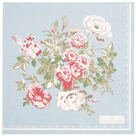 GreenGate Paper Napkin Petricia Pale Blue Large 20 Pieces 33 x 33 cm