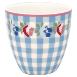 GreenGate Stoneware Mini Latte Cup Viola Check Pale Blue H 6,5 cm