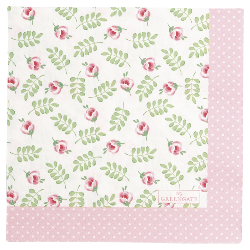 GreenGate Paper Napkin Lily Petit White Large 20 Pieces 33 x 33 cm