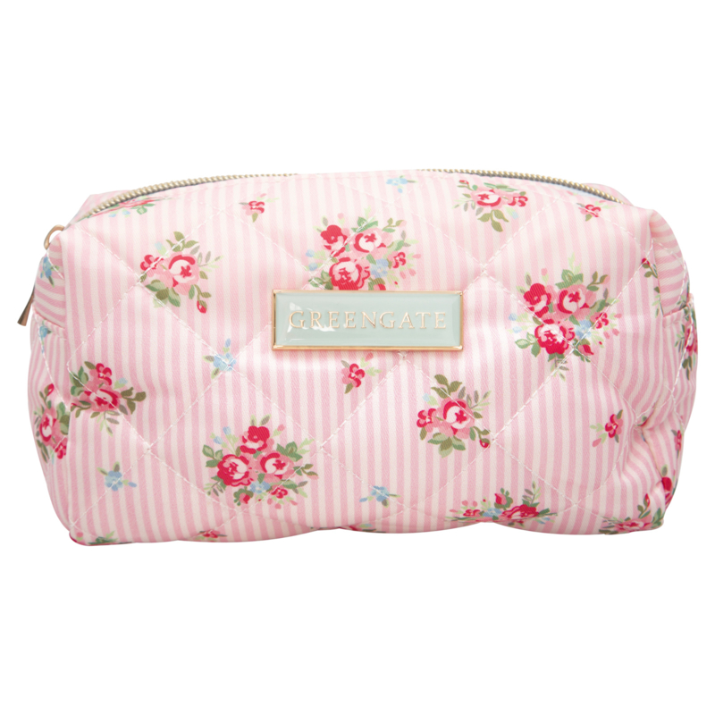 GreenGate Washbag Abigail Stripe Pale Pink Small 11x8x18 cm