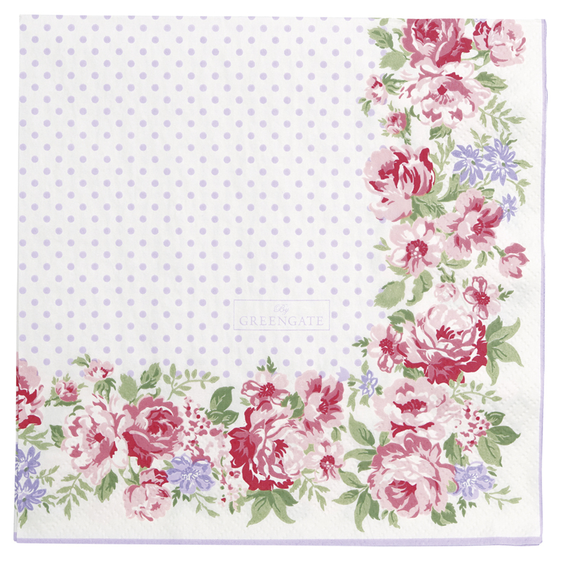 GreenGate Paper Napkin Rose White Large 20 Pieces 33 x 33 cm