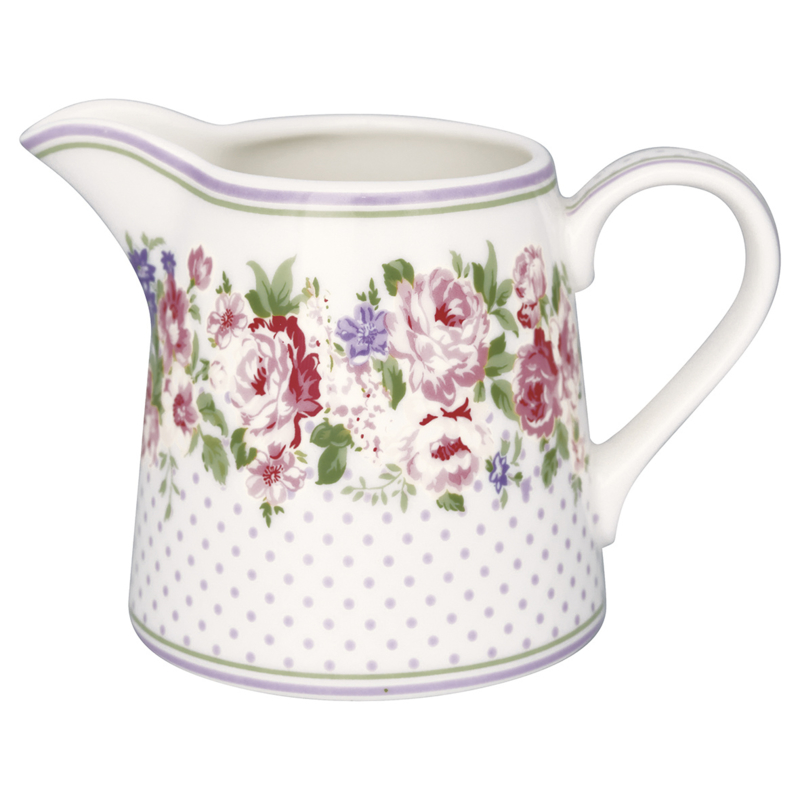GreenGate Stoneware Creamer Rose White H 8 cm