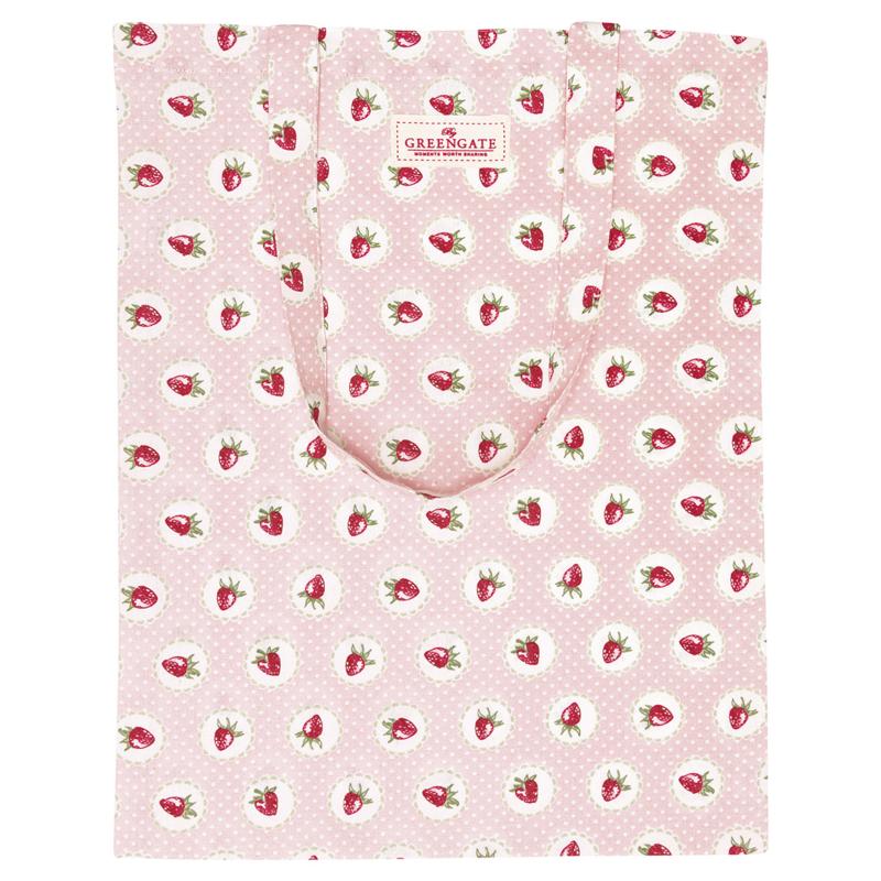 GreenGate Bag Cotton Strawberry Pale Pink 34 x 45 cm