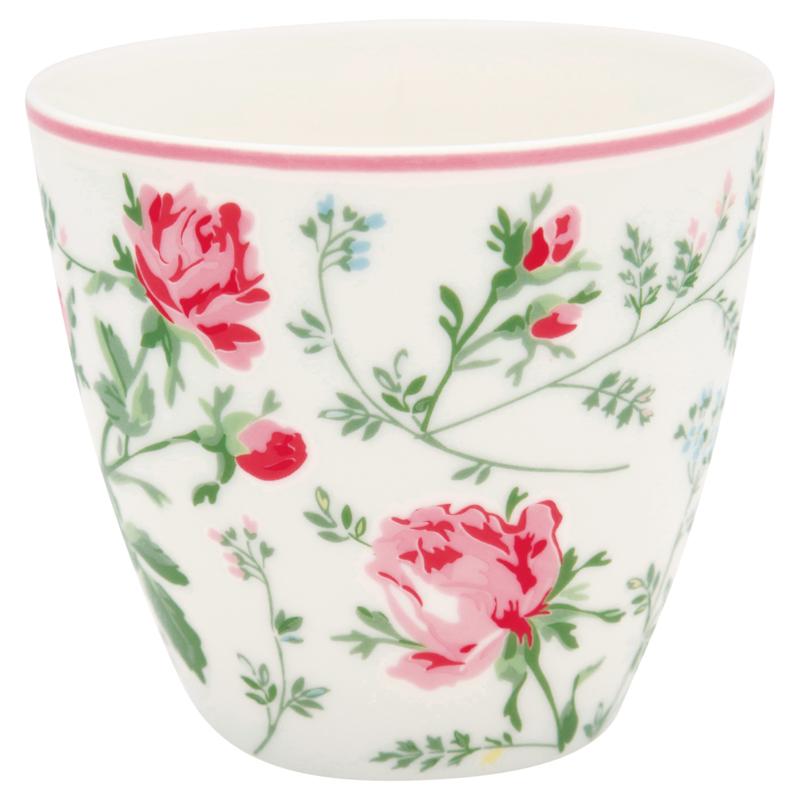 GreenGate Stoneware Latte Cup Constance White H 9 cm