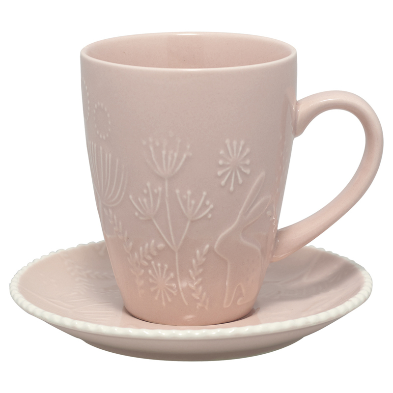 GreenGate Stoneware Cup And Saucer Evy Pale Pink H 10,5 cm