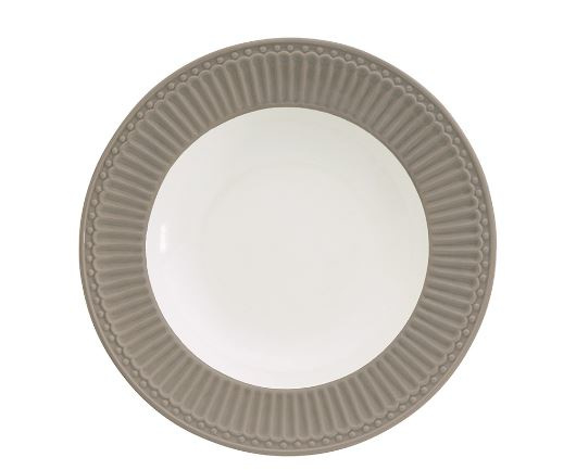 GreenGate Stoneware Deep Plate Alice Warm Grey