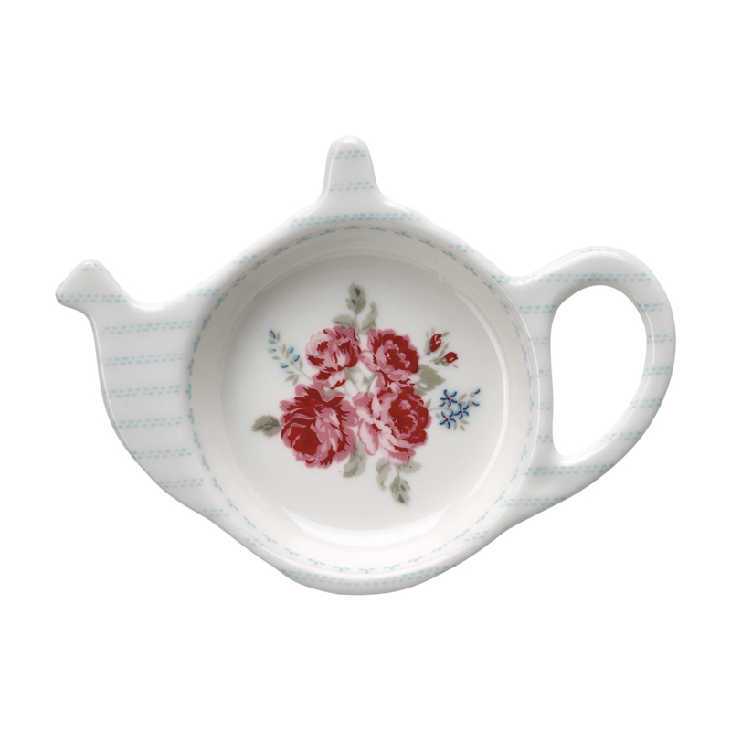 GreenGate Stoneware Teabag Holder Elisabeth White 10,0 x 12,5 cm