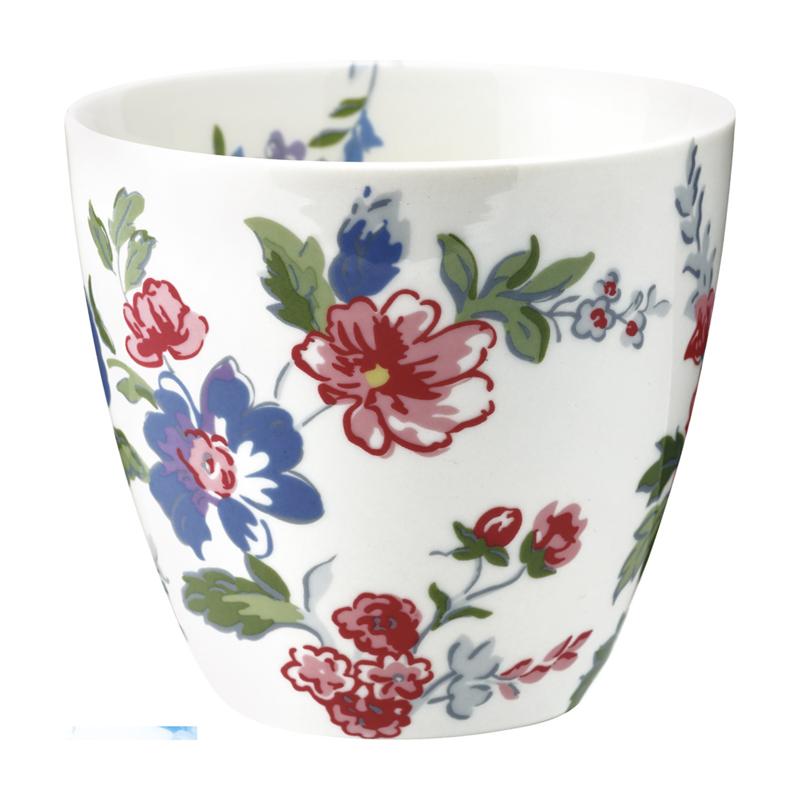 GreenGate Stoneware Latte Cup Isobel White H 9 cm