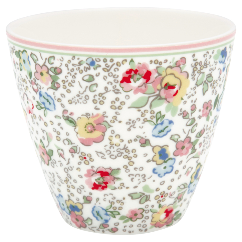 GreenGate Stoneware Latte Cup Vivianne White H 9 cm