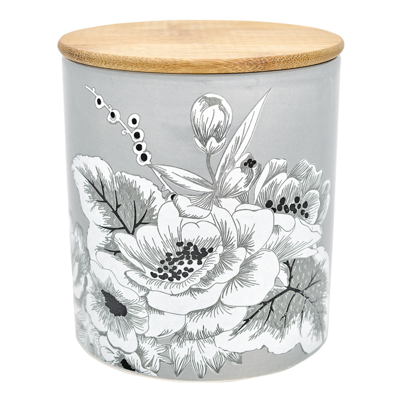 GreenGate Storage Jar Felicity Grey Medium With Wooden Lid H 12,7 cm