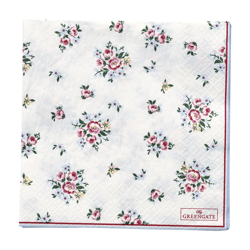 GreenGate Paper Napkin Nicoline White Large 20 Pieces 33 x 33 cm