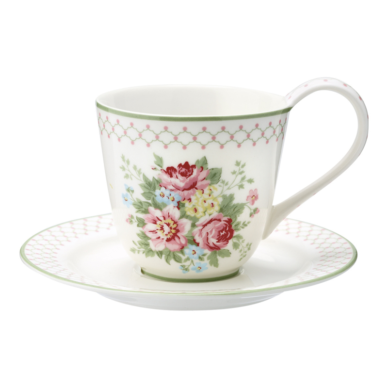 GreenGate Stoneware Cup and Saucer Aurelia White H 9 cm