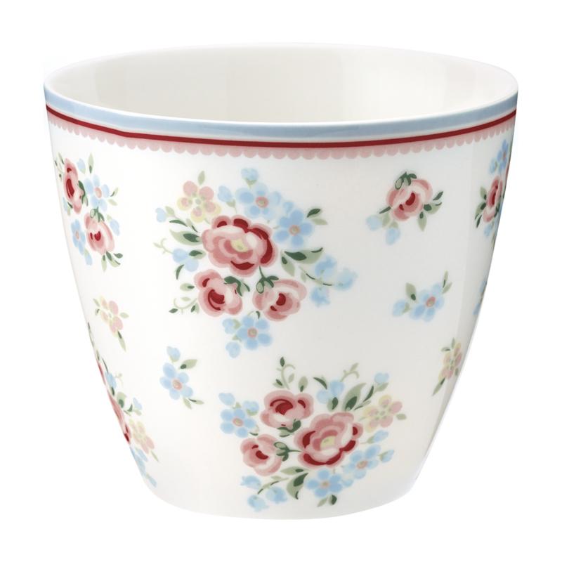 GreenGate Stoneware Latte Cup Nicoline White H 9 cm