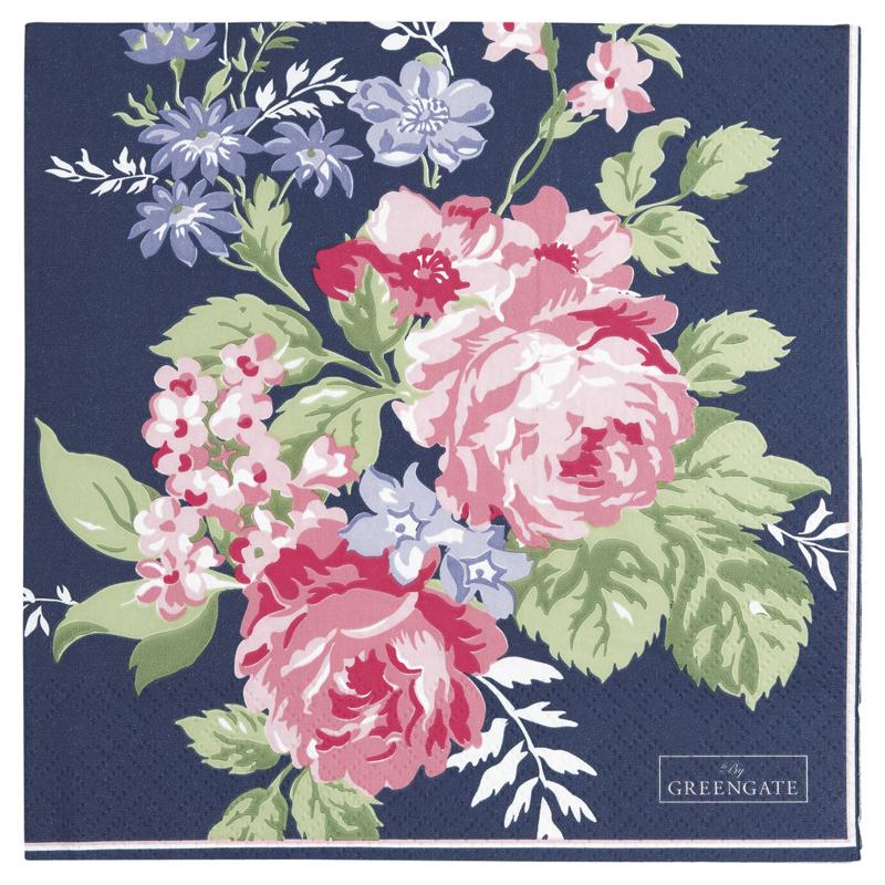 GreenGate Paper Napkin Rose Dark Blue Large 20 Pieces 33 x 33 cm