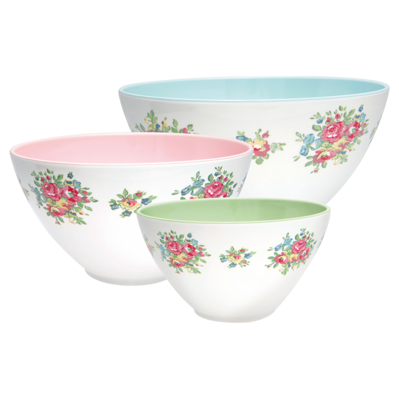GreenGate Melamine Salad Bowl Franka Pale Blue Set Of Three