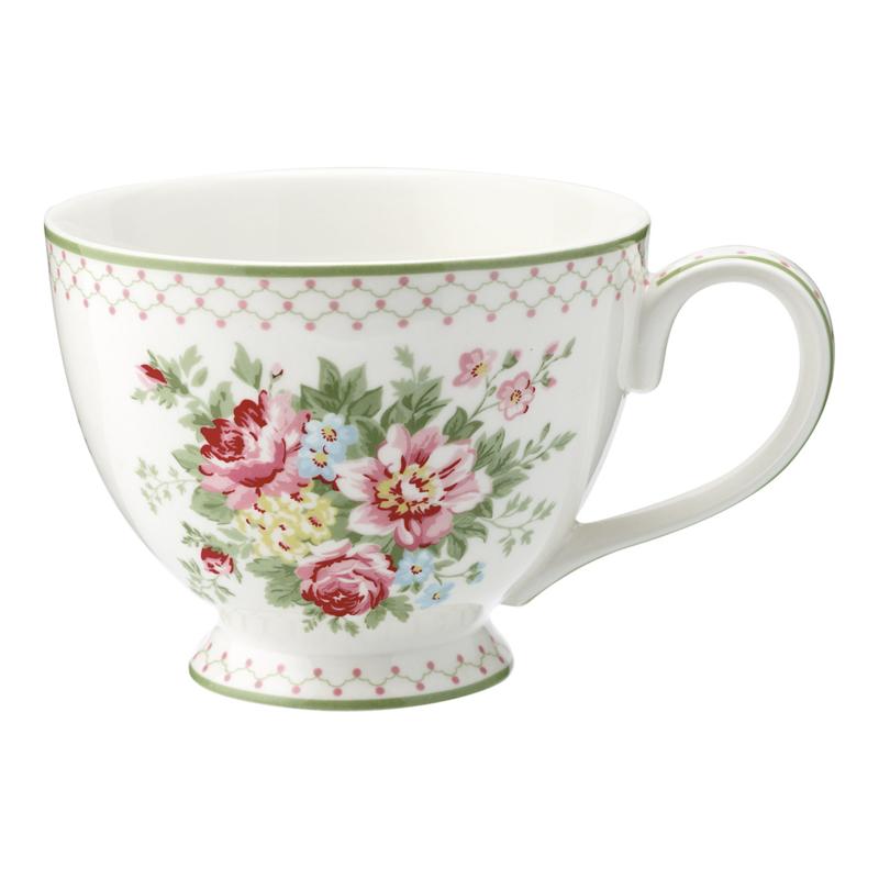 GreenGate Stoneware Teacup Aurelia White H 9 cm