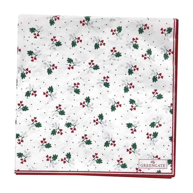GreenGate Paper Napkin Joselyn White Large 20 Pieces 33 x 33 cm
