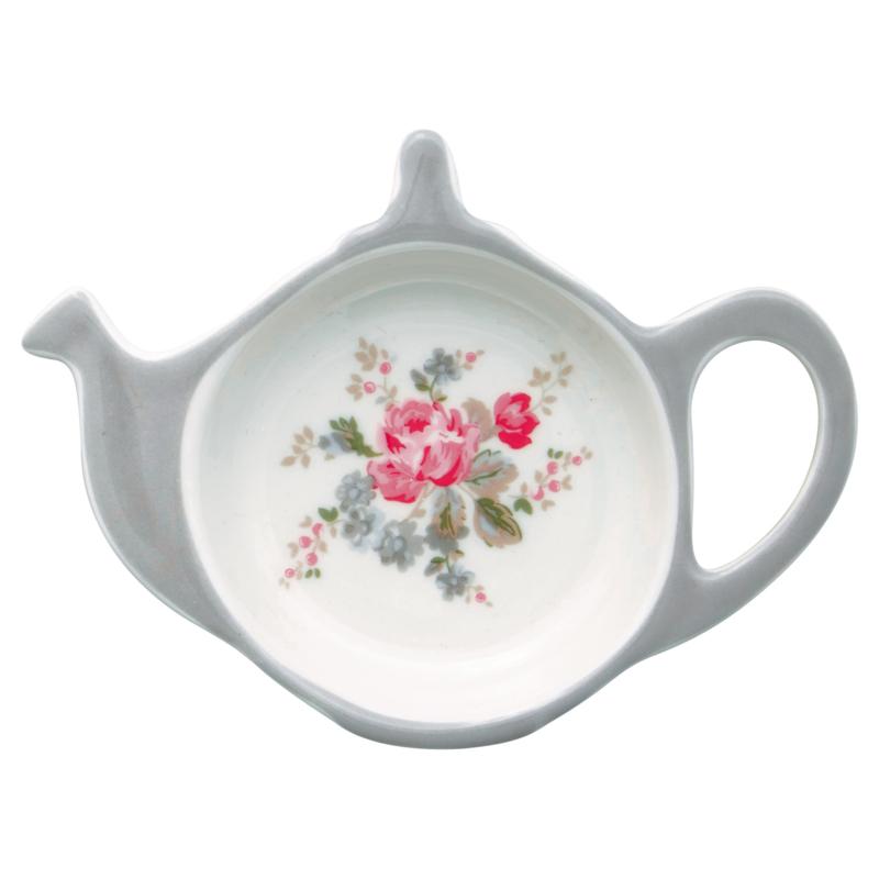 GreenGate Stoneware Teabag Holder Elouise White 10,0 x 12,5 cm