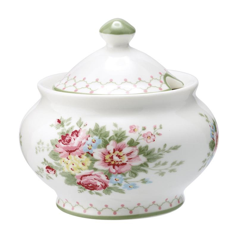 GreenGate Stoneware Sugar Pot Round Aurelia White H 10 cm