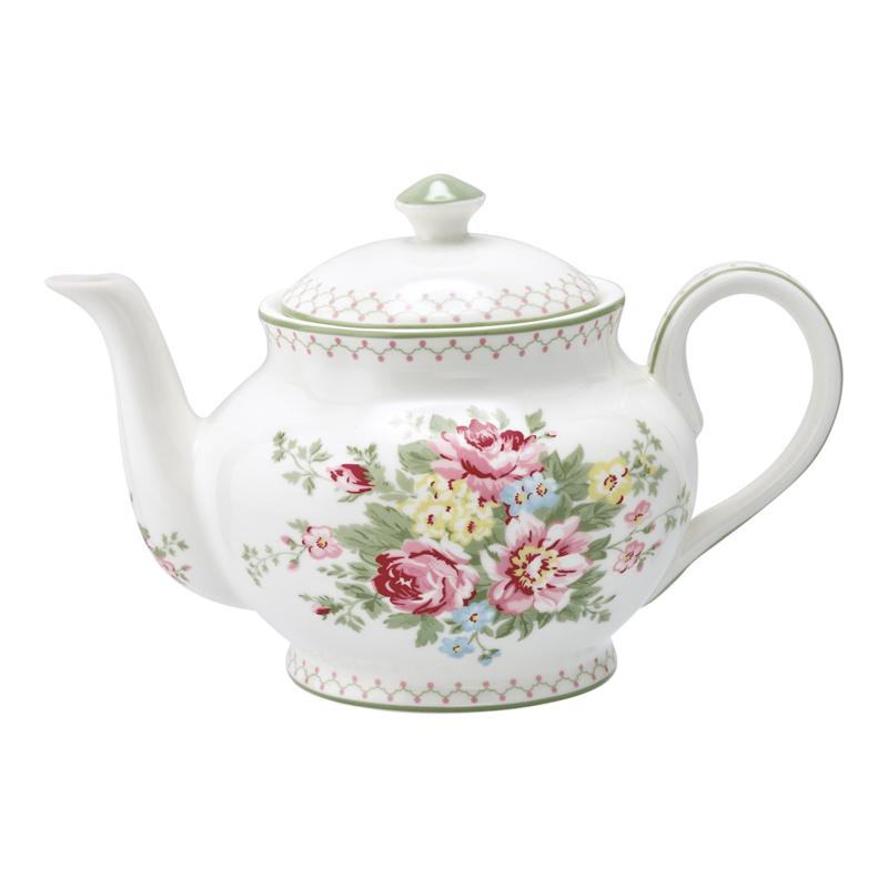 GreenGate Stoneware Teapot Round Aurelia White H 15,5 cm