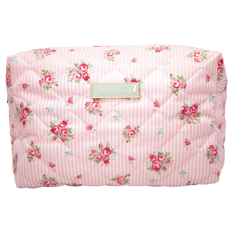 GreenGate Washbag Abigail Stripe Pale Pink Large 17x10x25 cm