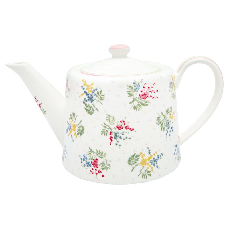 GreenGate Stoneware Teapot Mira White H 15,5 cm