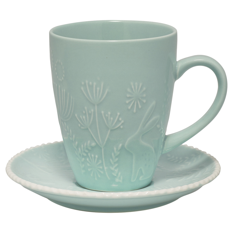 GreenGate Stoneware Cup And Saucer Evy Mint H 10,5 cm