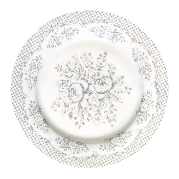 GreenGate Stoneware Plate Stephanie Warm Grey D 20,5 cm