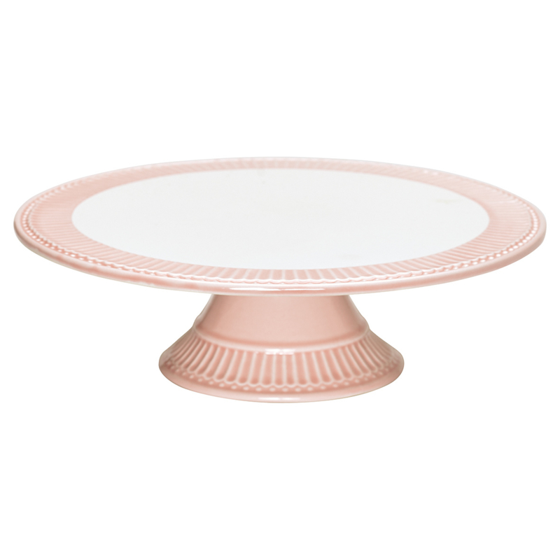 GreenGate Stoneware Cake Plate Alice Pale Pink 8,3 x 28,0 cm