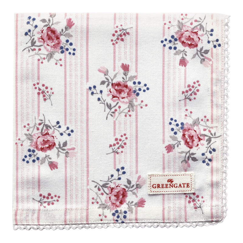 GreenGate Napkin With Lace Fiona Pale Pink 40 x 40 cm