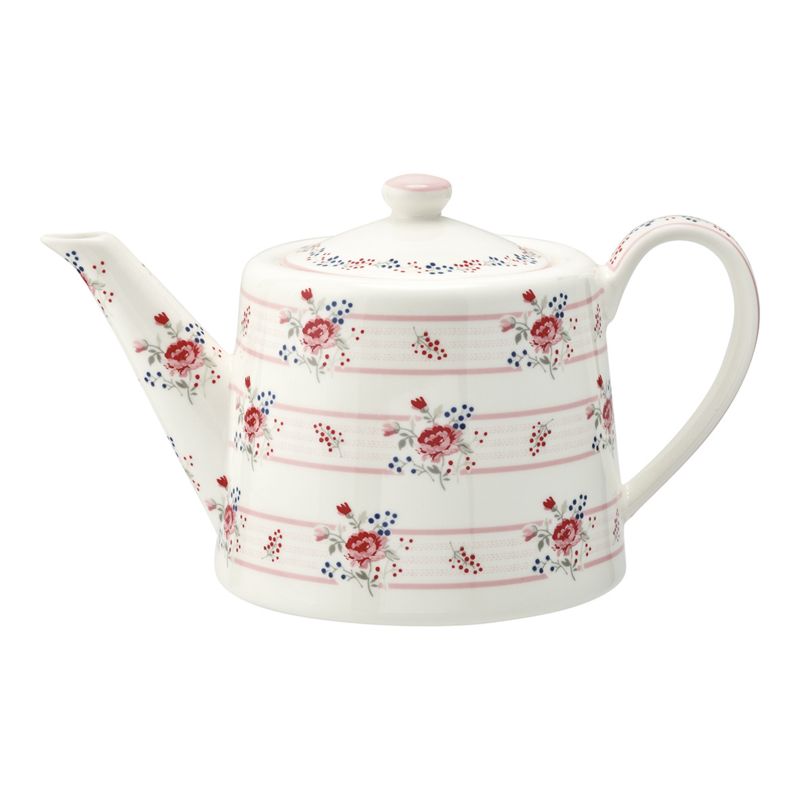 GreenGate Stoneware Teapot Fiona Pale Pink H 15,5 cm