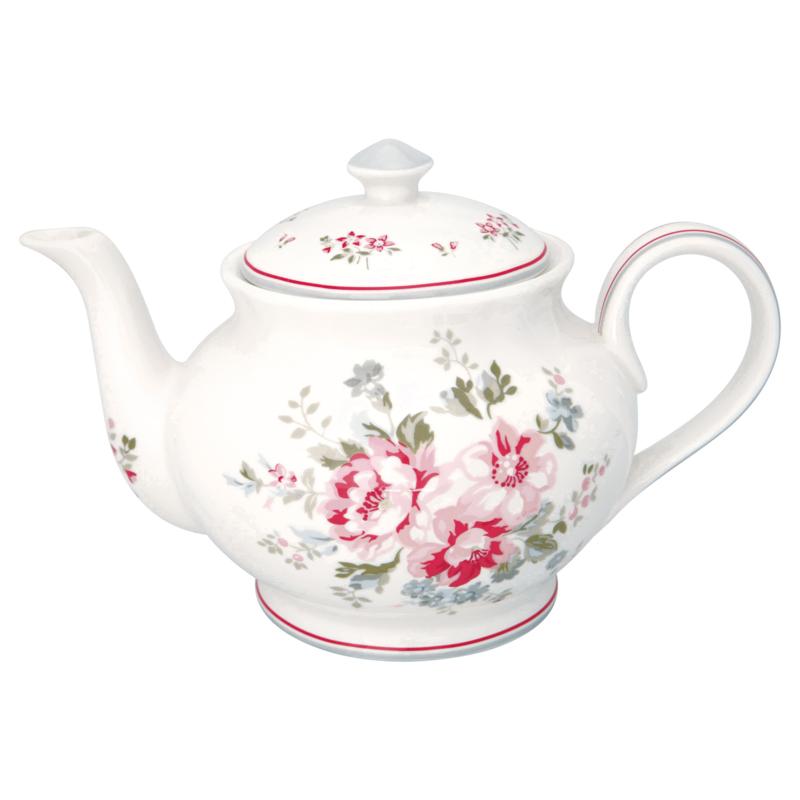 GreenGate Stoneware Teapot Round Elouise White H 15,5 cm