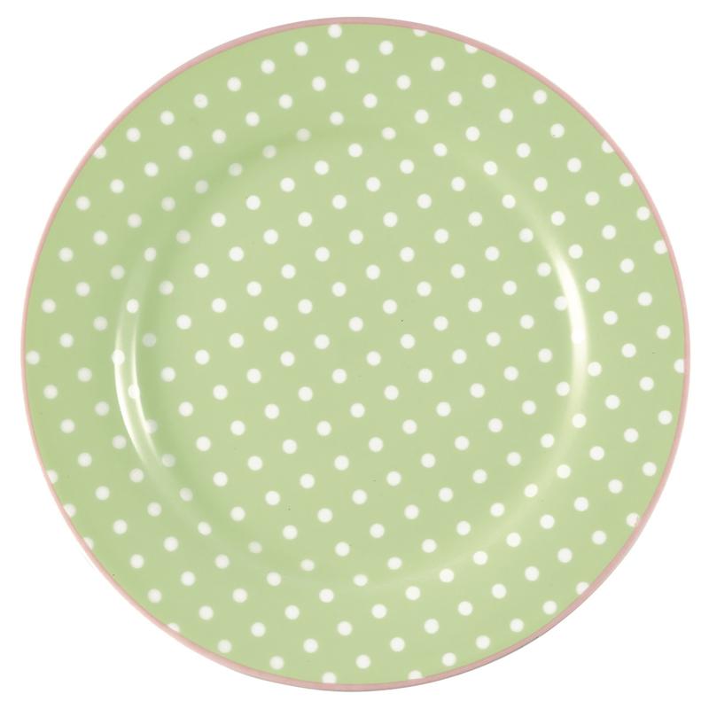 GreenGate Stoneware Plate Spot Pale Green D 20,5 cm