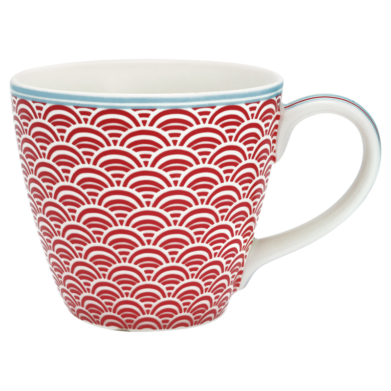 GreenGate Stoneware Mug Nancy Red H 9 cm