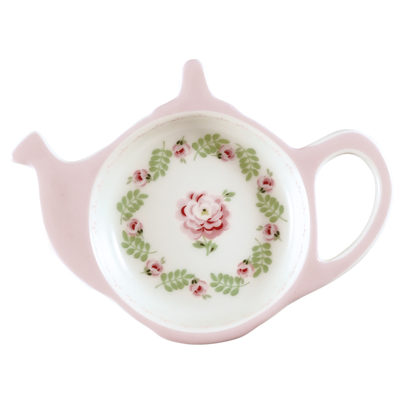 GreenGate Stoneware Teabag Holder Lily Petit White 10,0 x 12,5 cm