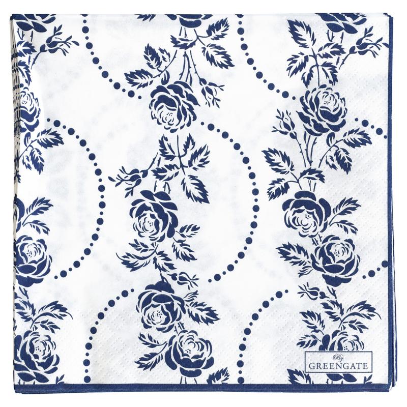 GreenGate Paper Napkin Fleur Blue Large 20 Pieces 16,5 x 16,5 cm