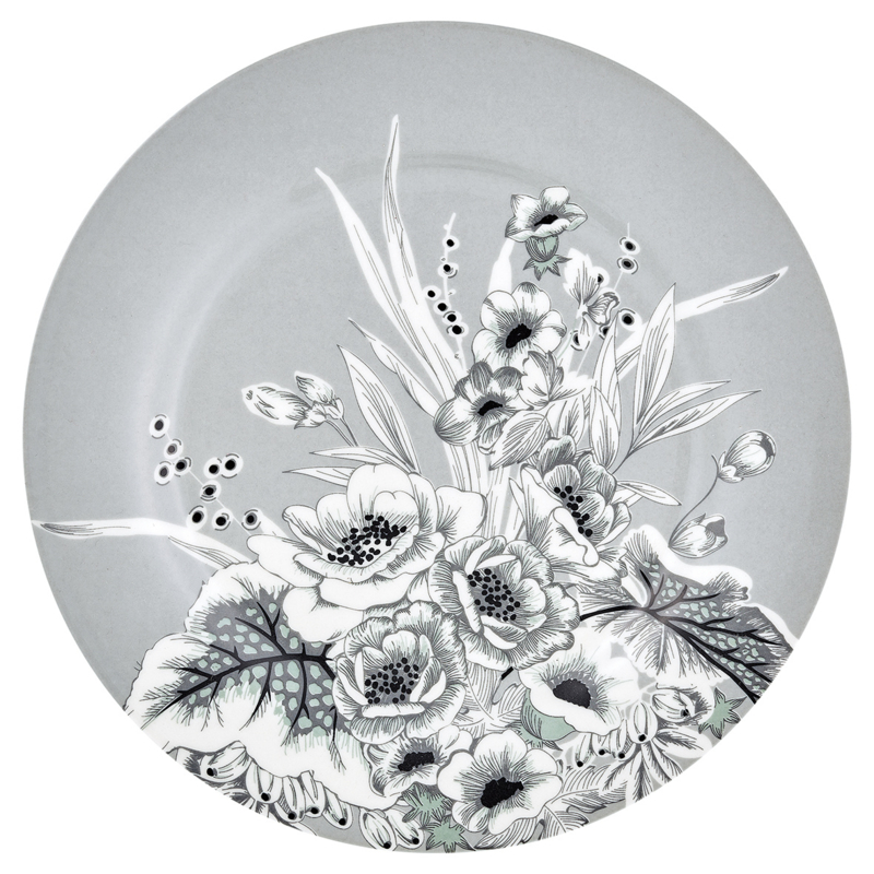 GreenGate Stoneware Plate Felicity Grey D 20,5 cm