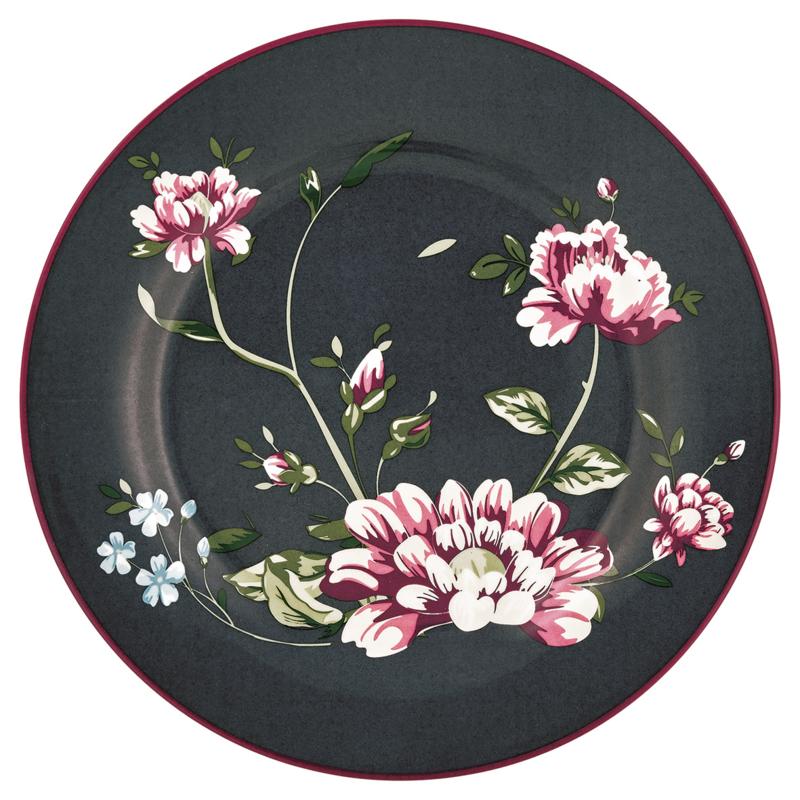 GreenGate Stoneware Plate Penelope Dark Grey D 20,5 cm