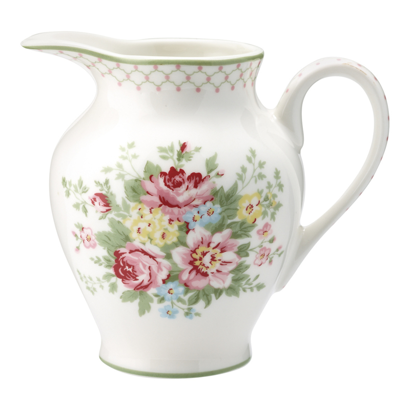GreenGate Stoneware Creamer Round Aurelia White H 12 cm