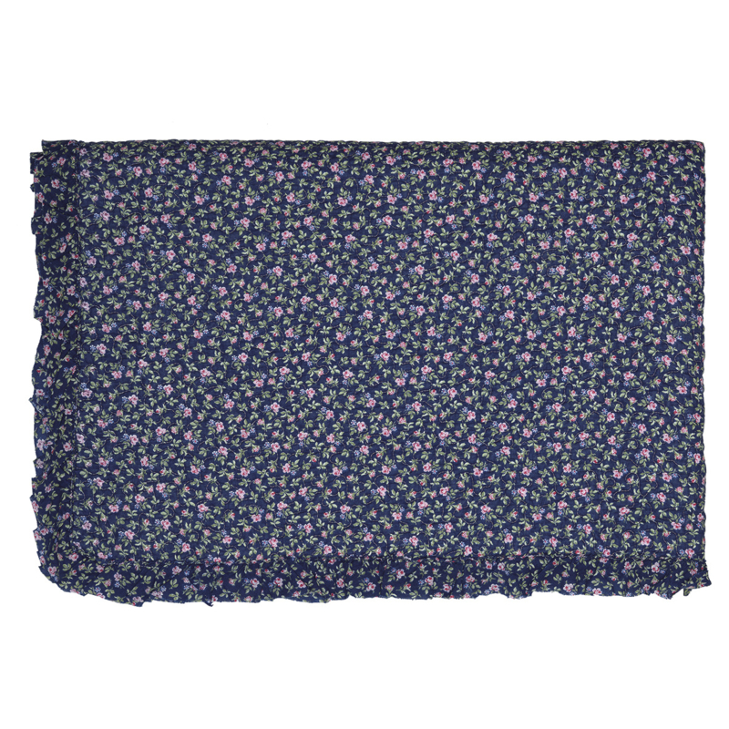 GreenGate Bed Cover Berta Dark Blue with Frill 140 x 220 cm